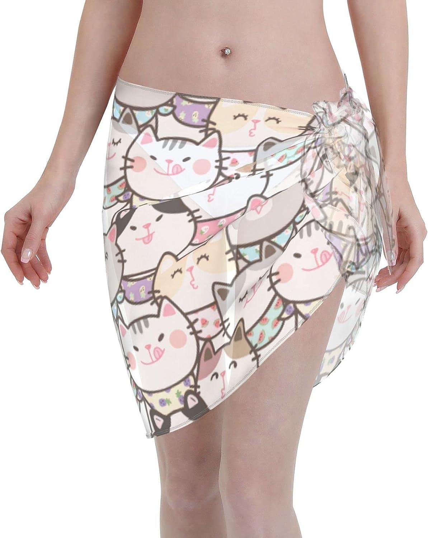 Cute Cartoon Cat Women Beach Short Sarongs Cover Ups Beach Swimsuit Wrap Skirt Black