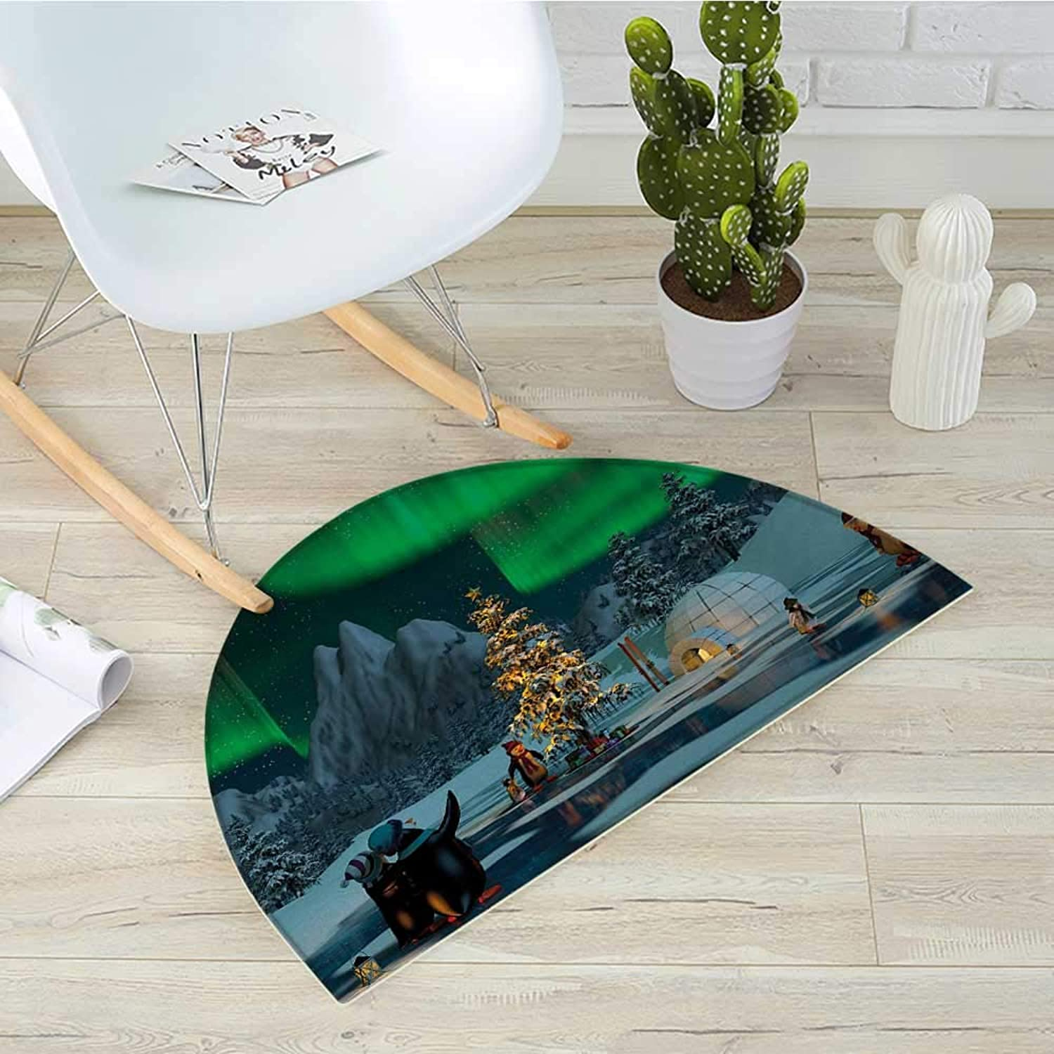 Northern Lights Semicircular CushionPenguins on Frozen Lake with Christmas Tree Noel Arctic Circle Design Entry Door Mat H 31.5  xD 47.2  Lime Green Grey