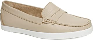 Driver Club USA Women's Leather Made in Brazil Penny Loafer Deck Shoe Boat, Cream Grainy, 5.5 M US