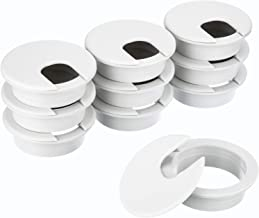 10 Packs Desk Cable Wire Grommet Cord, PC Computer Desk Plastic Grommet Cord, Tidy Cable Hole Cover Organizers (White, 50 mm/ 2 Inch Mounting Hole Diameter)