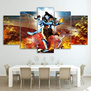 QJXX Prints On Canvas Hindu Gods Shiva Pictures Wall Art Home Decor 5 Pieces Paintings Prints HD Abstract Poster,B,30×40×2+30×60×2+30×80×1