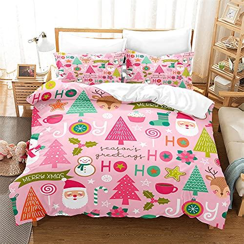 Fundas Nordicas Cama 105 Arbol de Navidad Rosa Ropa De Cama 200x200 cm, 1 Funda de edredón con 2...