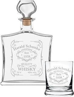 polar-effekt 2-TLG Geschenk-Set mit Whiskeyflasche und Leonardo Whiskyglas - Edle Glas-Karaffe Inhalt: 700ml - mit Gravur Motiv Quality Whisky