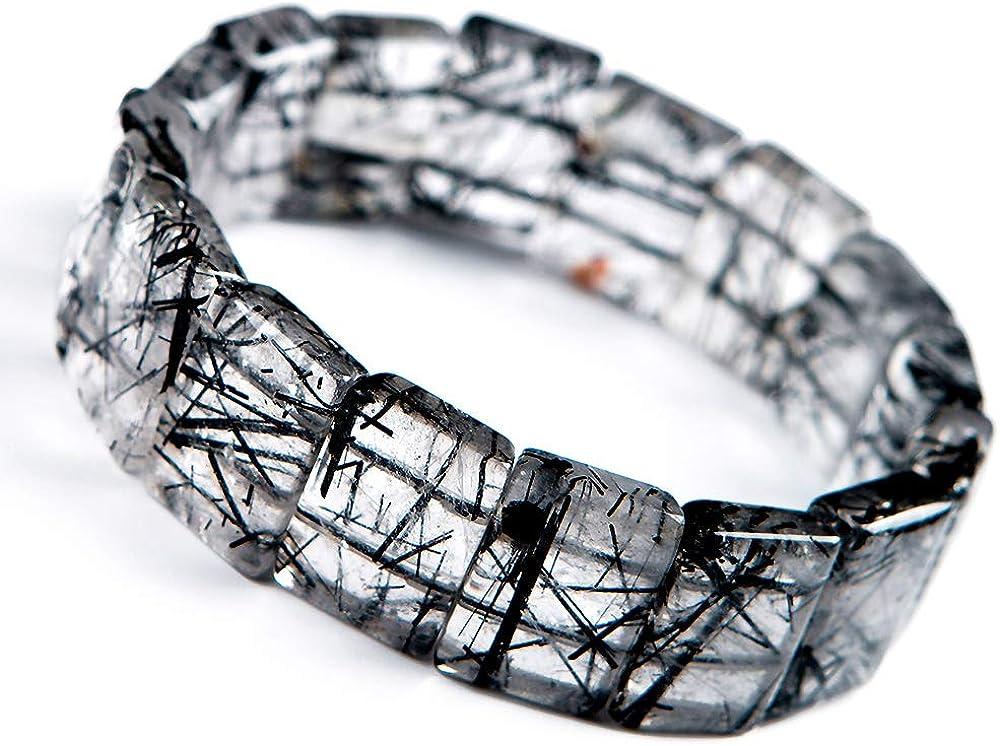 Muko Gemstone 100% Natural Black outlet Rutilated Max 55% OFF Stretc Crystal Quartz