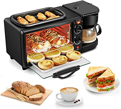 3-in-1 Family Size Electric Breakfast Station, Coffeemaker, NonStick Griddle, Toaster Oven, Portable Family Size Breakfast Station
