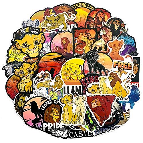 YZFCL Animación Adorable Rey LeónPegatinas de Dibujos Animados para Nevera Ordenador Equipaje de niños PVC Pegatina Impermeable 50 Uds