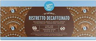 Marca Amazon - Happy Belly Ristretto Decaffeinato- Café UTZ molido de tueste natural descafeinado en cápsulas (compostables) compatibles con Nespresso, 50 cápsulas (5x10)