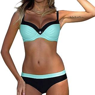 YSY-CY Women's Swimming Suit 2020 Womens Padded Push-up Bra Bikini Set Swimsuit Bathing Suit Beachwear Swimwear Women Bikini Set Suitable for beach, water sports (Color : Light blue, Size : Medium)