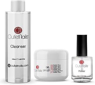 UV Gel Builder Rose 50ml + Primer 15ml sin acido + Limpiador