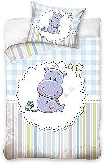 DHestia - Juego de Funda Nórdica 100% Algodón Natural para Cuna de Bebé Hipopótamo Baby191001B