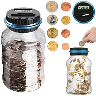 Coin Piggy Bank Savings Bank Jar, Digital Coin Money Bank Coin Counter Storage for Kids Adult, 1.8L Money Saving Box Jar B...
