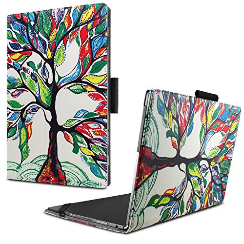 Infiland Lenovo Yoga Book Case, Folio Premium PU Leather Stand Cover for Lenovo Yoga Book 2-in-1 10.1-Inch Tablet (Android and Windows Version) -Lucky Tree