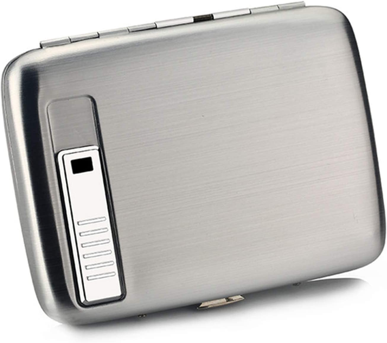 HEKQ Caja De Cigarrillos De Aluminio Soporte De Caja para Cigarrillo Delgado 100 Mm con Encendedor De Cigarrillos Recargable USB,Plata