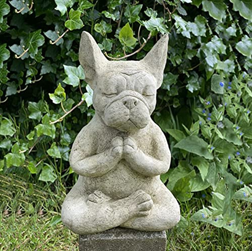 Meditation Dog Sculpture Resin Bulldog Statue Animal Yoga Statue Figurine Pet Sculpture Office Home Ornament Housewarming Gift Home Decoration for Patio Garden Porch Decor (Style A, 5.93.93.1inch)