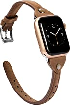 Wearlizer Scrub Deep Brown Leather Compatible with Apple Watch Thin Leather Band 38mm 40mm for iWatch Womens Mens Stylish Narrow Strap Simple Rivet Cute Wristband (Silver Clasp) Series 5 4 3 2 1 Sport