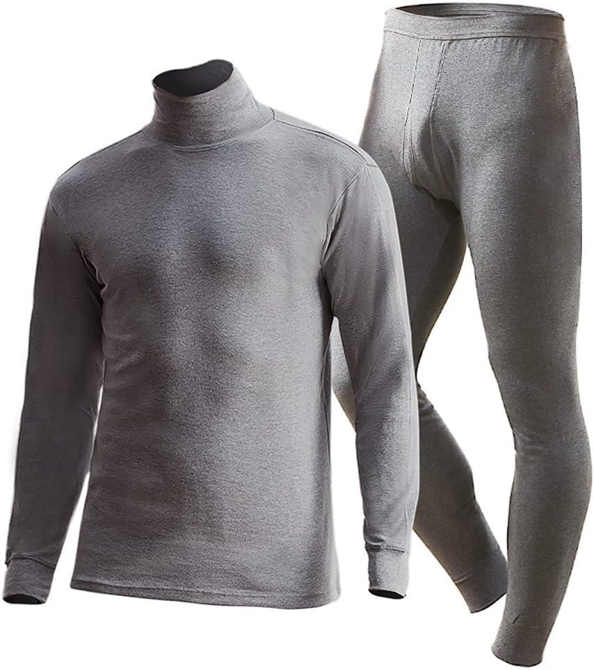 ZSQAW Men Turtleneck Thermal Underwear Set Cotton Suits Long Sleeve Shirt+Pants 2 Pieces Set Winter Warm (Color : F, Size : XL Code)