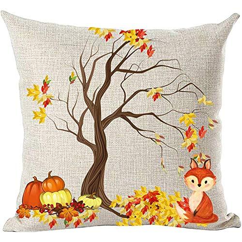 Suo Long Albero di Acero Marrone Foglie di Arancio Giallo Zucche Frutti Bella Volpe Autunno Autunno Y 'all Throw Pillow Cover Case Cushion
