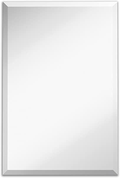 Large Simple Rectangular Streamlined 1 Inch Beveled Wall Mirror Premium Silver Backed Rectangle Mirrored Glass Panel Vanity Bedroom Or Bathroom Hangs Horizontal Vertical Frameless 24 W X 36 H