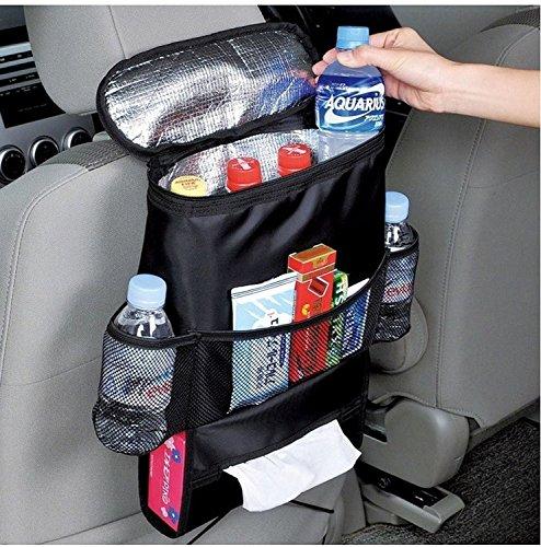 Tankerstreet Supports de voiture Organiseur de siège de voiture de stockage Sac isotherme Organiseur multi-poches Voyage Sacs de rangement pour Road Trip