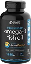 Omega-3 Wild Alaskan Fish Oil (1250mg per Capsule) with Triglyceride EPA & DHA   Heart, Brain & Joint Support   IFOS 5 Star Certified, Non-GMO & Gluten Free - 90 day Supply!