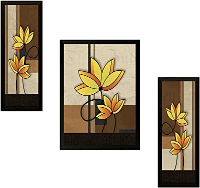 SAF UV Textured Flower Print Framed Painting Set of 3 for Home Decoration – Size 35 x 2 x 50 cm SAFOSA7718
