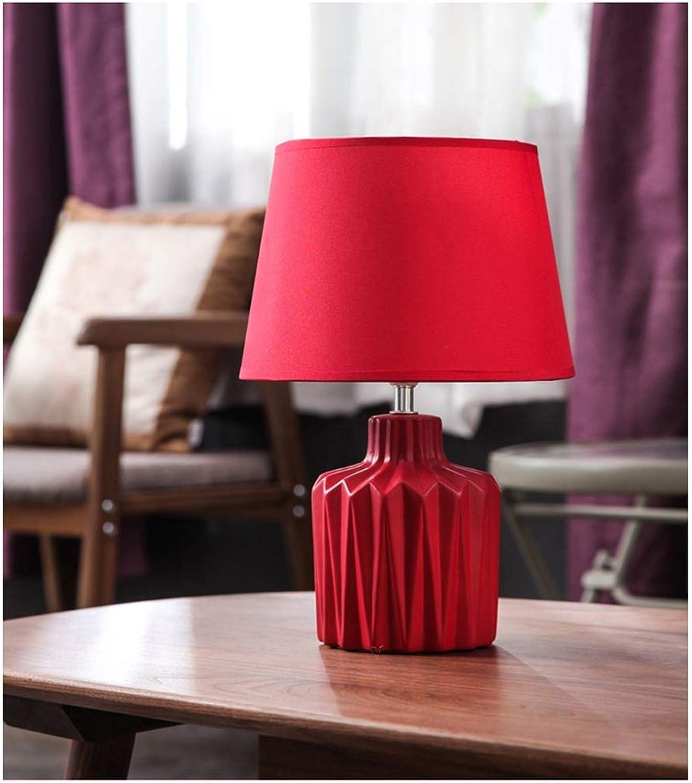 HARDY-YI Tischlampe Schlafzimmer Nachttisch Kreative Keramik Schreibtischlampe Einfache Moderne Rote Warme Braut Leselampe Hochzeitszimmer -718Schreibtischlampen (Farbe   Remote Control)