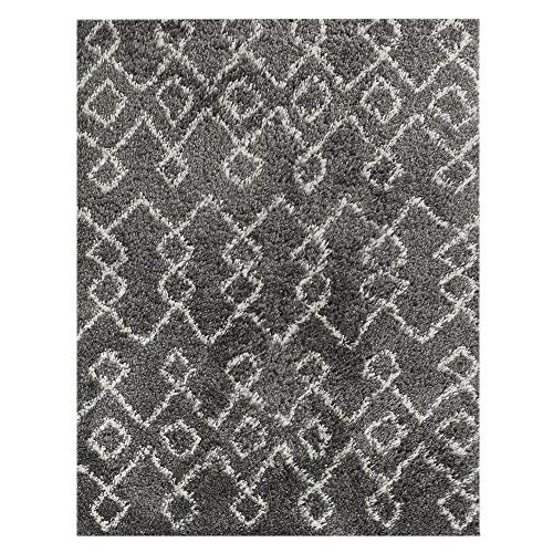 Wyatt & Ash Charcoal/Ivory 3.25 ft. x 5 ft. Tribal Stripes Shag Area Rug