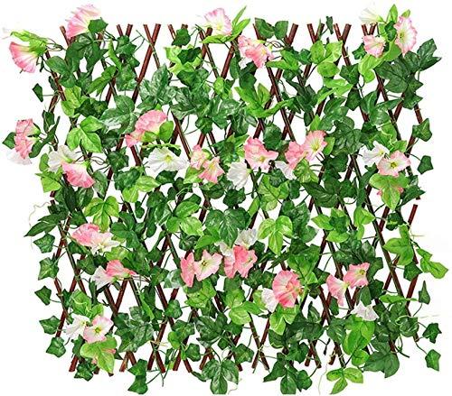 HXSD Cerca de Flores Artificiales, Pantalla de privacidad de la Cerca Ampliable, Valla Artificial de Valla de Hiedra Ivy, Adecuada para jardín, Mercado y decoración del Parque,Rosado,S