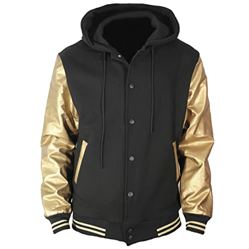 422ee3afb81d U World Men s Hoodie Faux Leather Cotton Baseball Varsity Jacket Gold