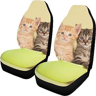 Funda para asiento de bicicleta para niños, grupo de gatitos a rayas pequeños, gatos en una cesta, protector de asiento de coche, paquete de 2 bolsas de aire de ajuste universal, compatibles con fund