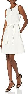 Amazon Brand - Lark & Ro Women's Sleeveless Split Crew Neck Belted A-Line Dress with Pockets