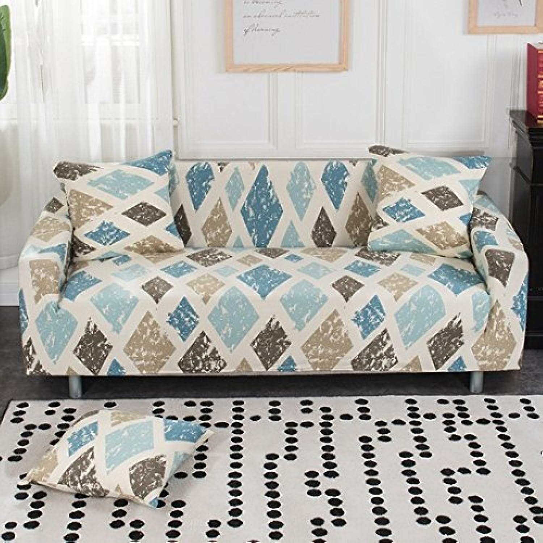 SunnyRain 1-Piece Retro Rhomboids Elastic Sofa Covers for Living Room Slipcover for I Shaped Sofa Cover Couch Cover   01 Sofa Cover, M Sofa Bed Cover