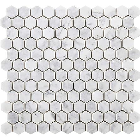 Usct White 12x12 Hexagon 1 Inch Mosaic Matte 10 Pieces 10 Sq Ft Ceramic Floor Tiles Amazon Com