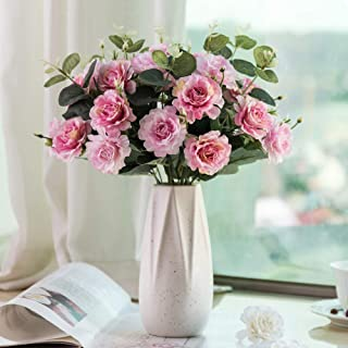 YUYAO Artificial Roses with Ceramic Vase Fake Silk Rose Flowers Decoration for Home Office Party Table Wedding (Pink)