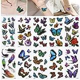 Tatuajes Niños Calcomanía, 10Pcs Mariposa Temporal Niños Tatuajes Set Diseño de arte para jugar Diversión para niños Niña Adolescente Niños Cumpleaños y Adulto