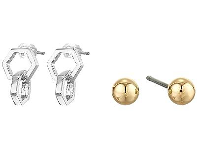 AllSaints Double Hex Stud Set Earrings (Rhodium) Jewelry Sets