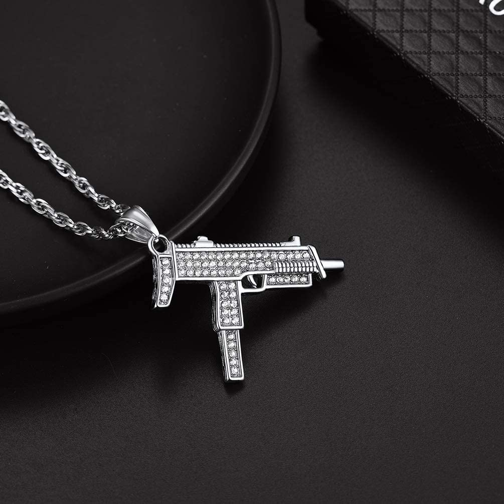 316L Stainless Steel//18k Gold Plated Send Gift Box PROSTEE Bling Hiphiop Uzi Necklace Pendant with Chain