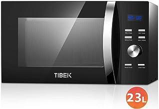 TIBEK Microondas con Grill, 23 Litros de Capacidad, Potencia 800W/1280 W en 10 Niveles de Potencia, Temporizador 60 min, Pantalla LED, Plato Giratorio de Vidrio 28cm, Negro(Recibido Dentro de 5 Dias)