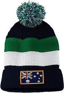 Custom Vintage Pom Pom Beanie Australia Embroidery Skull Cap Hat for Men & Women