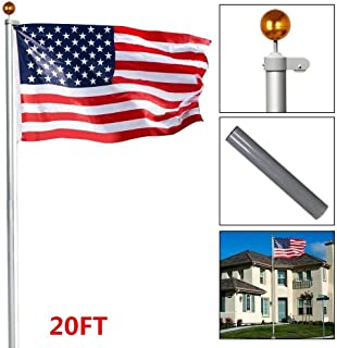 Topeakmart Heavy Duty 16'/ 20'/25'Aluminum Flagpoles American Residential or Commercial Flag Pole Outdoor Halyard House Sectional Flag Pole Kit-w/Topper Ball, 2pcs 3'x5' Flags/US Flag