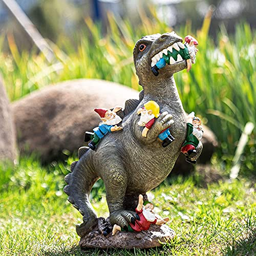 Bioaley Dinosaur Garden Ornament The Great Garden Gnome Massacre Statue Dinosaur Animal Crafts Gift for Garden Yard Lawn Patio Indoor/Outdoor Decor