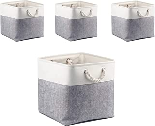 Boîtes de Rangement en Tissu Mangata, 33 x 38 x 33 cm Grandes Paniers de Rangement Pour Vêtements / étagère(Gris/Blanc, Lo...