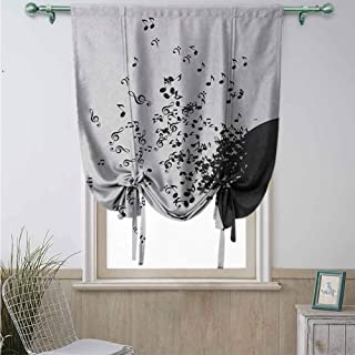 Rod Pocket Blackout Curtains Tie Up Shade, Assorted Sizes & Colors for Living Room Music Abstract Design Flying Music Notes Disc Album Dancing Nightclub Print, Ivory Black and Yellow48