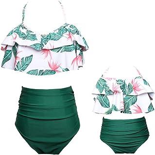 c98541dba3 Maillot de Bain Assorti mère et Fille Bikini Set 2pcs Maillot de Bain  Taille Haute Volants