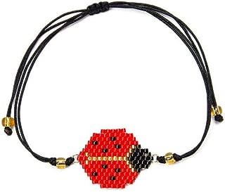 Ladybug Bracelet Insect Bracelets for Women Child Jewelry Friendship Strap Beads Handmade Woven Gift,Ladybug