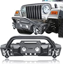 Hunter Jeep Front Bumper Black Texture with 4 x 18W LED Lights and winch for 87-06 Jeep Wrangler YJ/TJ