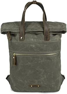 Waxed Canvas Backpack Roll Top Big Rucksack Unisex Casual Daypack for College Travel Hipsters Women Men (Army Green)