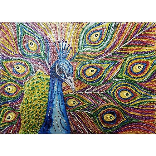 DIY 5D Spécial Peinture De Diamants en Forme,veyikdg Coloré Motif De Paon Foret Partiel Foret De Point De Croix Kits Cristal Strass De La Photographie De La Série Broderie Arts Artisanat 30x30cm (Mr)