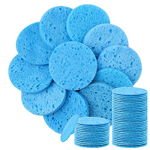 50 Count Facial Sponge,Thicker Compressed Natural Cellulose Face Sponge Reusable Cleaning Sponge Pads for Facial Cleansing Exfoliating Mask Facial SPA Massage Makeup Removal blue