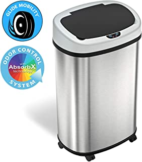 SensorCan 13 Gallon Sensor Trash Can Odor Control System, Oval Shape Automatic Kitchen and Office Garbage Bin (Powered by ...